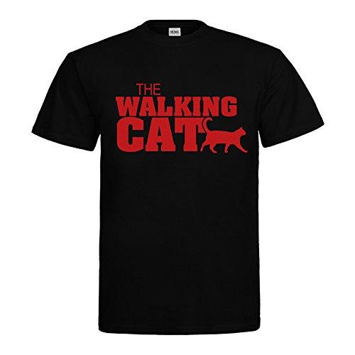 MDMA T-Shirt The Walking Cat Textil black / Motiv rot Gr. XL