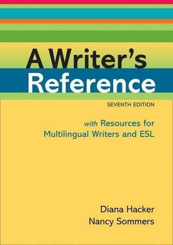 A Writer's Reference with Resources for Multilingual Writers and ESL by Diana Hacker (2011-01-21) par Diana Hacker;Nancy Sommers