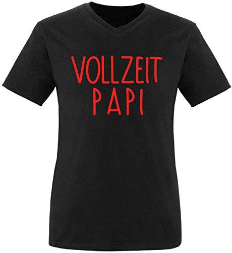 EZYshirt® Vollzeit Papi Herren V-Neck T-Shirt Schwarz/Rot