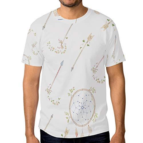 FANTAZIO - Camiseta para Hombre, diseño de Flechas y atrapasueños, Manga Corta, Cuello Redondo 1 S