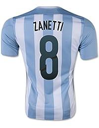 2015-16 Argentina Home Football Soccer T-Shirt Camiseta (Javier Zanetti 8)