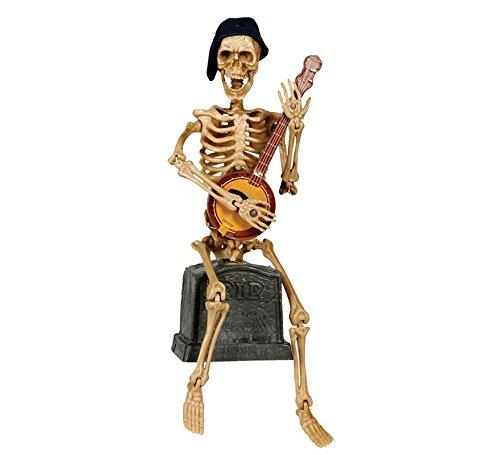 (Abiti e Maschere Animierter Skelett-Musiker mit Sound Halloween Hängedeko beige-schwarz 31cm Einheitsgröße)