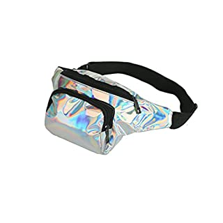 BFD One metallic shiny bumbag bum bag running belt waiste pack fanny pack hip pouch for men women one size fits all. (Holographic Silver Front Pocket)