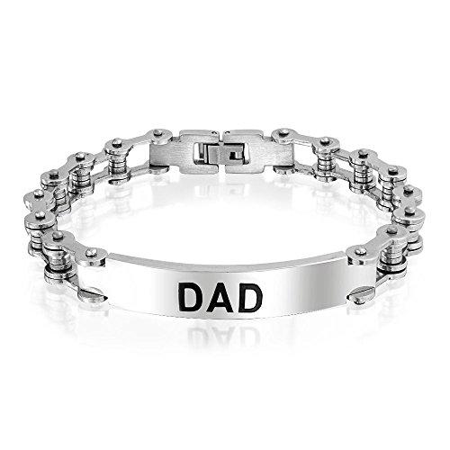 Bling jewelry papà papà nome piastra catena di bicicletta bici link id bracciale per uomini padre il tono dell'argento in acciaio inox