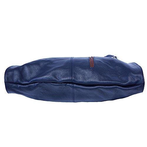 Borsa Hobo grande a spalla 3019 Blu scuro-marrone