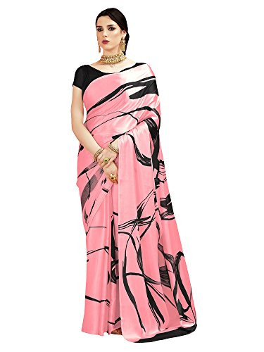 SAREE MALL Crepe Silk Saree With Blouse Piece (KQUN33002_Pink_Free Size)