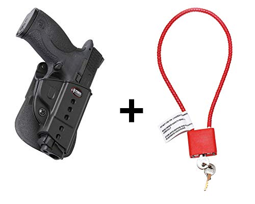 S&W M&P Holster & Cable Gun Lock, Fobus Tactical Retention Adjustment Paddle Holster for Smith & Wesson M&P in 9mm, .40cal, .22cal & .45cal, M&P M2.0 in 9mm, .40cal & .45cal, SD9, SD40, SD9VE pistol -