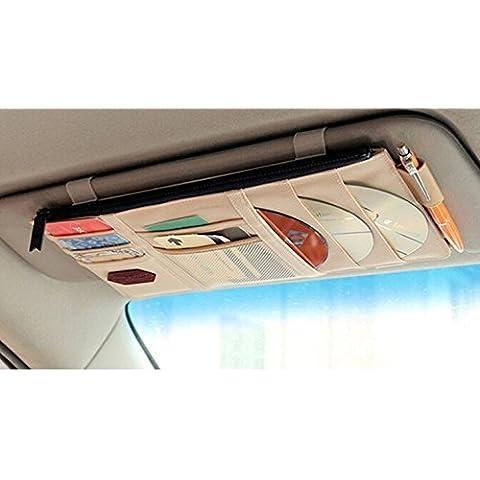 EarthSafe® Multi-pocket Car Visor Organizzatore, veicolo Parasole Pouch Borse Titolare di Biglietto Coin ID CD DVD Scheda di memoria (Beige)