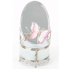 Silver In Paris - Boite à bijoux ronde avec un miroir ovale et papillon