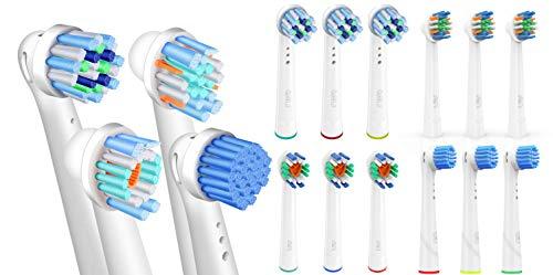 FLM 16 Stück Ersatzbürstenköpfe für elektrische Zahnbürsten, kompatibel mit Braun Oral B, Packung mit 4 Stück CrossAction + 4pzs 3D Sensitive Clean + 4pzs FlossAction + 4pzs 3D White -