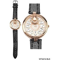 Rose Gold Coloured Bezel Round Shaped White Face Ladies Watch with Black Strap