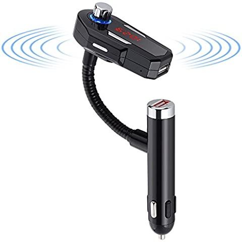 Kuman Wireless Bluetooth 4.0 Radio Adapter FM Transmitter Hands-free Car Kit with Dual 2.4A USB Charger 3.5mm Audio Plug and LCD display for iPhone,Samsung,HTC,Sony,LG,Blackberry and more