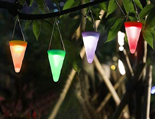 4 X Solarleuchten für Außen Hängeleuchten Solar Farbwechsel LED Gartenlicht Dekorative Kegelleuchten für Garten, Party, Weihnachtsbaumschmuck Light