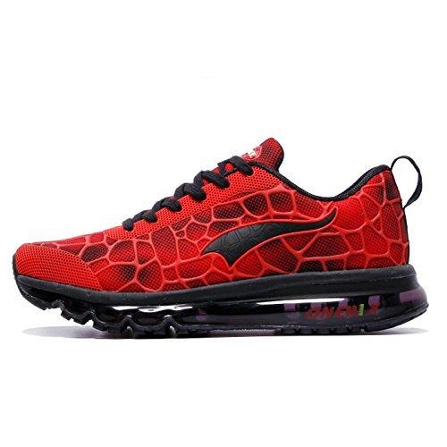 Onemix Herren Air Laufschuhe Sportschuhe mit Luftpolster Turnschuhe Leichte Schuhe Rot schwarz Größe 45 EU