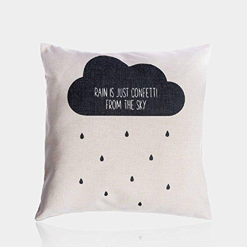 ColbyHazlitt Regen Wolken Schwarz und Weiß Buchstabe Werfen Kissen Fall Baumwolle Leinen Kissen Quadratisch Kissen Deko für Sofa Couch Stuhl 45,7x 45,7cm -