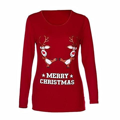 Nouveau. Yanhoo 2017Femme Automne et Hiver de Noël Elk Impression manches longues Chemisier, femme, Red