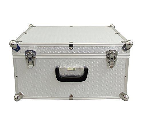 Preisvergleich Produktbild Ondis24 Aufbewahrungskoffer Lagerkoffer in Alukoffer - Optik mit Kugelecken aus Alu für extremen Eckschutz Vago M silber 45 Liter mit Innenpolsterung für empfindliche Sachen