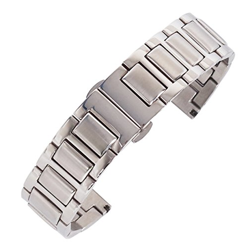 22mm super Luxus Edelstahlarmband Ersatz-Uhrenarmband einstellbar Silber Uhrenarmband für Männer