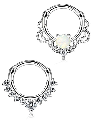 sailimue 2Pcs Edelstahl Nasen Piercing Ringe Nase-Ring Körper Hoop Piercing Opal Schmuck 16G