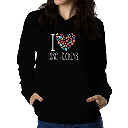 Felpe con cappuccio da donna I love Disc Jockey colorful hearts