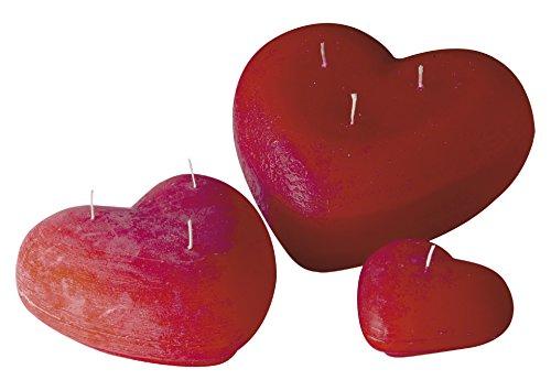 Kerzen Herzen Rot 38 x 100 mm, durchgefärbte handgegossene Kerze, Herzkerze für Valentinstag, Muttertag, Hochzeit, Geschenk