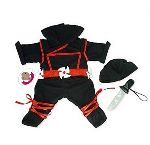 Build Your Bears Wardrobe Teddybären-Kleidung, Ninja-Kostüm, 38cm, passend für Bären von Build a Bear, (Bear A Build Kostüme)