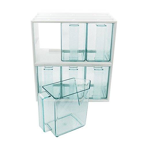 6er Schüttensatz mit Schüttenrahmen weiß inkl 6 Schütten in Glasgrün 267 x 150 x 292 mm, Küchenschütten, Schüttenkasten, Vorratsschütte, Schütte (83 Stück Küche-set)