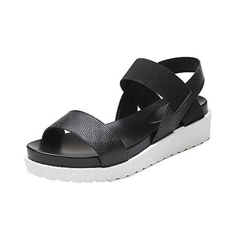♥ Loveso ♥ Damenschuhe 2017 Sommer Frauen Einfache Leder Flache Sandalen Schuhe Für Schwarz, Leopard und Silber (40, Schwarz)