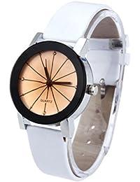 Reloj redondo de cuero con esfera de reloj de cuarzo para mujer, Ba Zha Hei