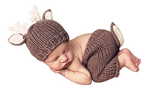 2 tlg. Baby Fotos Häkelkostüm Strick Newborn Fotoshooting Rentier Braun 0-1Monat
