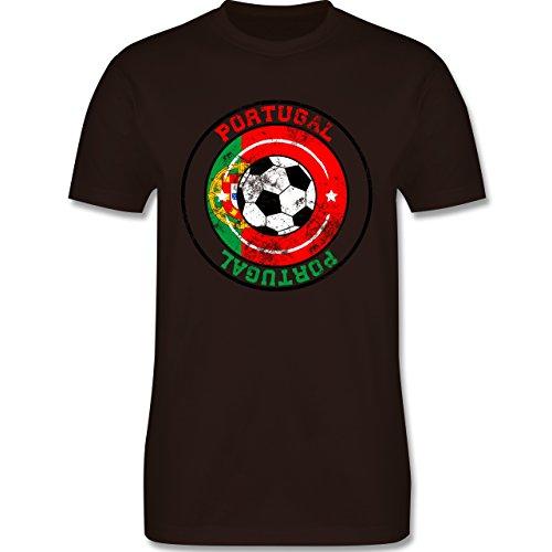 EM 2016 - Frankreich - Portugal Kreis & Fußball Vintage - Herren Premium T-Shirt Braun