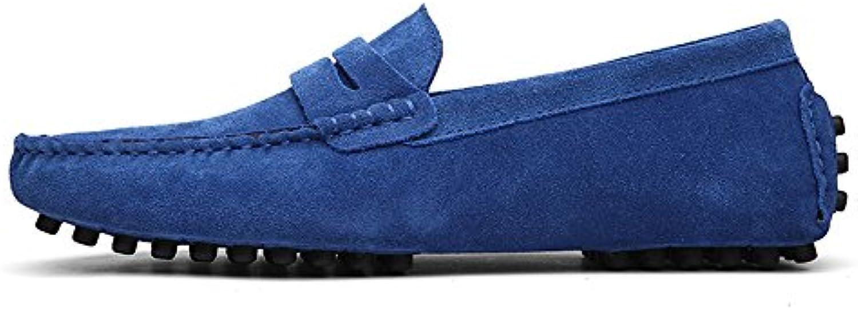 Conducción de los Hombres Penny Loafers Suede Cuero Genuino Casual Mocasines Slip-On Boat Shoes (Color : Sapphire...