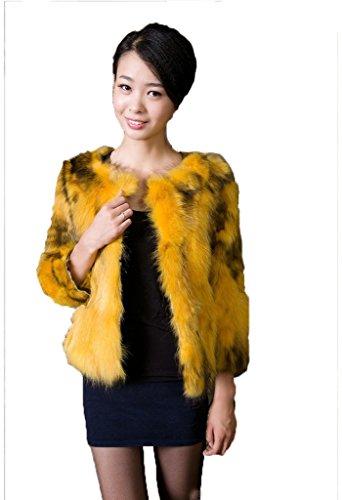 YR Lover Damen Winter Echter Waschbär Pelz Warm Fuchs Mantel Jacket Gelb
