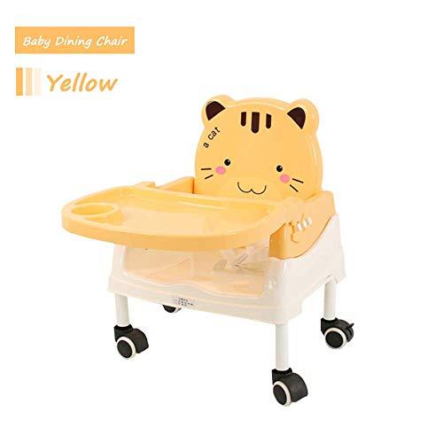 Mhxzkhl Baby Klappbar Reise Hochstuhl,Portable Kinder Einstellbare Höhe Esszimmerstuhl mit Riemenscheibe,Geeignet für Baby 0-4 Jahre Alt,Yellow (Portable Hochstuhl Sitzerhöhung)