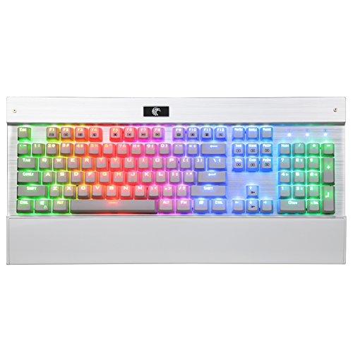 ETPC mechanisch gaming Tastatur beleuchtet RGB blue Switches 104 Tasten programmierbar Anti-Ghosting farblich Hintergrundbeleuchtung dimmbar LED Chroma Z-77 QWERTY für pro gamer (Weiß)