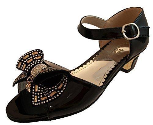 Filles Fête D'enfants Talons Demoiselle D'honneur Fille Aux Fleurs Sandales Chaussures De Communion Noir