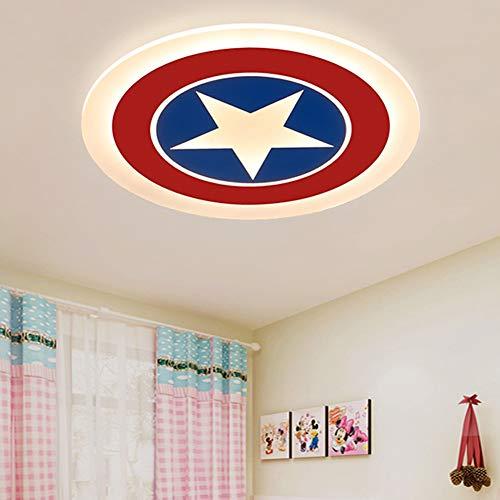 Captain America Shield Chandelier Deckenleuchte, LED (62/52 / 42CM) Eisen Kunst Acryl Lampenschirm Creative Girl Boy Arbeitszimmer Schlafzimmer Leuchte-52CM-Warm Captain Girl