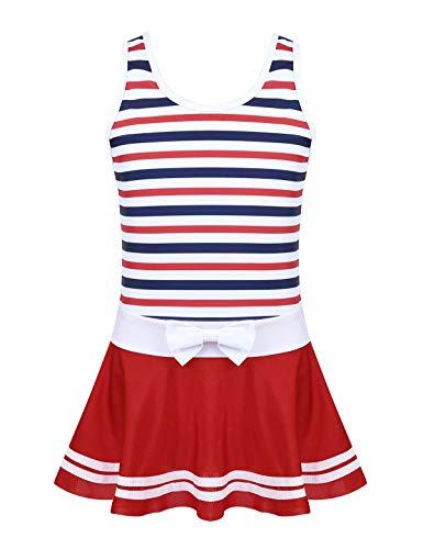Tiaobug Mädchen Einteiler Badeanzug Streifen Muster Kinder Bademode Vintage Modisch Badekleidung Schwimmanzug Monokini Strandmode Swimsuit gr. 98 bis 164 Rot Kleid 134-140/8-9 Jahre -