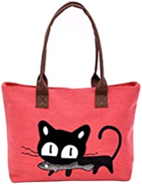 LuckES Moda Mujer Bolsa de hombro Lindo bolso de gato Bolsa de lona Oficina Bolsa del almuerzo Mujeres Large School Bag Bolsos totes Shopping Bag Canvas Bag Color puro Carteras de mano (B)