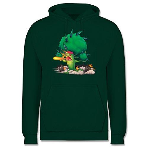 Comic Shirts - Brokkoli Monster - Männer Premium Kapuzenpullover / Hoodie Dunkelgrün