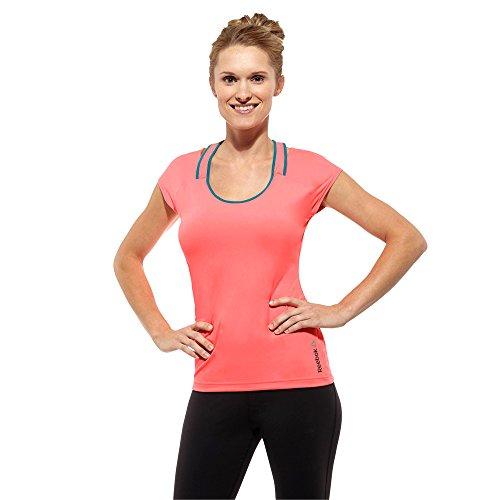 Reebok Damen Thermo T-Shirt für die Fitness One DT Print Tee PlayDry (S, Rosa) (Reebok Rosa T-shirt)