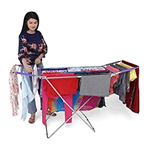 LiMETRO STEEL Stainless Steel Foldable Clothes Stand for Drying Clothes   Cloth Drying Stand   Cloth Drying Stands Foldable (Bed Style)