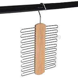 20 Tie Belt Scarf Accessories Wooden Hanger Hanging Rack Storage Organiser