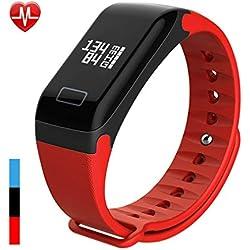 Fitness-Tracker-Sportschritte Rekord Herzfrequenz Blutdruck Schlaf Gesundheit Trinkwasser Sitzende Überwachung Wasserdichtes Bluetooth Geeignet Für Männer Und Frauen Im Freien,Red