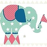 anna wand Bordüre selbstklebend ELEFANTEN BOYS - Wandbordüre Kinderzimmer/Babyzimmer mit Elefanten - Wandtattoo Schlafzimmer Mädchen & Junge, Wanddeko Baby/Kinder