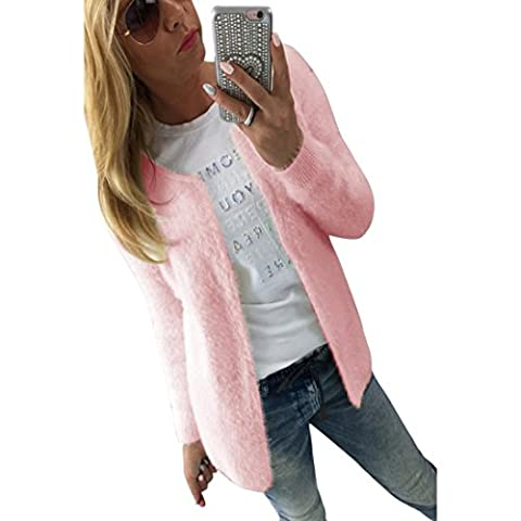 Transer® Ladies Solid Slim Jacket Coat Cardigan Long Sleeve Sweater Women Casual Knitted Jumper Blouse Tops (XL, Pink)