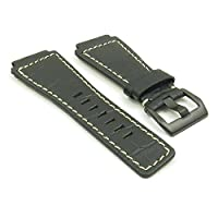 DASSARI Primo Black w/ White Crocodile Leather Watch Band for Bell & Ross w/ Matte Black Buckle 24mm