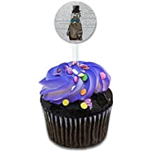 Dandy Otter Bowtie Top Hat Cake Cupcake Toppers Picks Set by Made on Terra