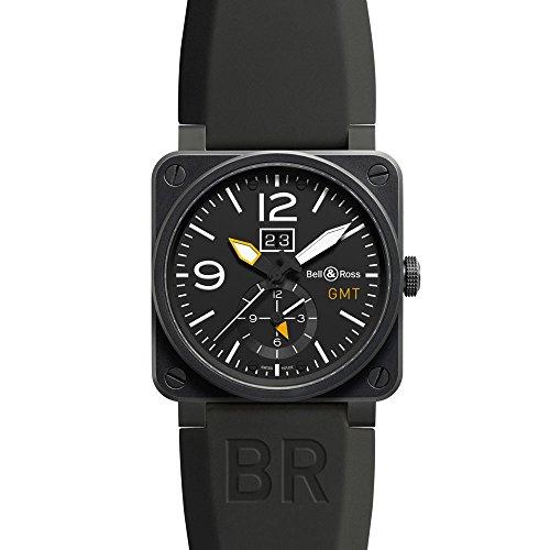 Bell und Ross Luftfahrt Schwarz Zifferblatt Schwarz Gummi Herren Armbanduhr br0351-gmt-cb