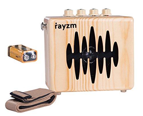 Rayzm E-Gitarren-Combo-Verstärker, 5 Watt Mini Übungsverstärker für Gitarre mit Gurt, Netzteil/AUX- In/Kopfhörerbuchsen, 4 Zoll Lautsprecher, Batterie Inklusive